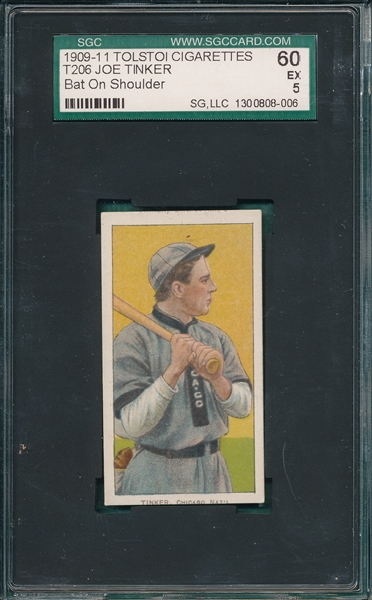 1909-1911 T206 Tinker, Bat On, Tolstoi Cigarettes SGC 60