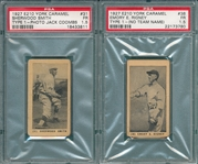 1927 E210-1 #31 Sherwood Smith & #38 Emory Rigney, No Team Name on Jersey, Lot of (2), York Caramels PSA