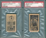 1927 E210-1 #11 George Uhle & #15 Clarence Mitchell, Lot of (2), York Caramels PSA