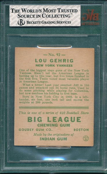 1933 Goudey #92 Lou Gehrig BVG 4.5 *Presents Better*