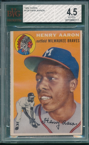 1954 Topps #128 Hank Aaron BVG 4.5 *Presents Better*