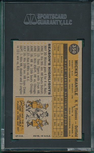 1960 Topps Mickey Mantle SGC 35 *Presents Much Better*