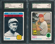 1973 Topps #31 Bell & #475 Ty Cobb, Lot of (2) SGC 92