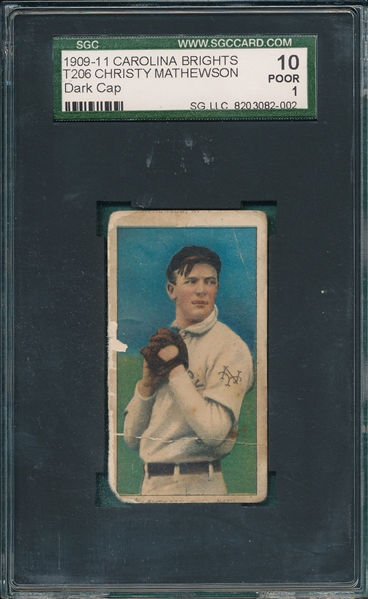 1909-1911 T206 Christy Mathewson, Dark Cap, Carolina Brights Cigarettes SGC 10 *Double Name*