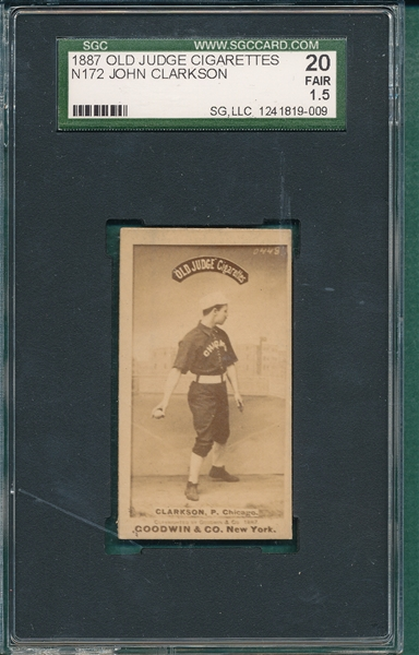 1887 N172 John Clarkson Old Judge Cigarettes SGC 20 *Strong Clear Dark Photo*