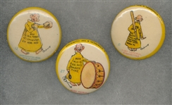 1890s Yellow Kid Pinbacks High Admiral Cigarettes Lot of (3) W/ Baseball