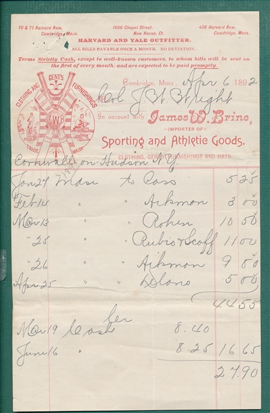 1892 Invoice from Harvard & Yale Outfitters