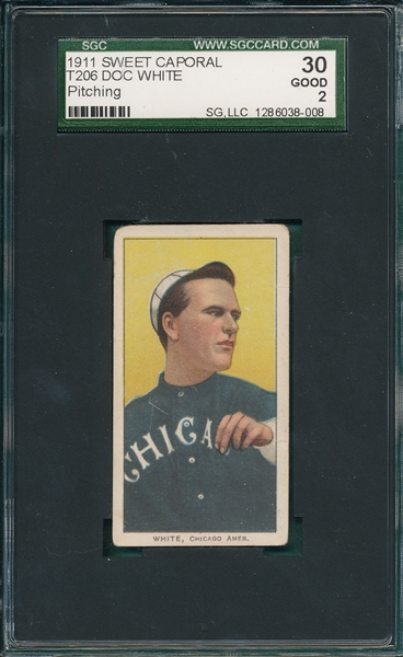 1909-1911 T206 White, Doc, Pitching, Sweet Caporal Cigarettes SGC 30
