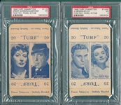 1948 Turf Cigarettes Film Favorites Panel W/ Tab, Bogarts, Lot of (2) PSA