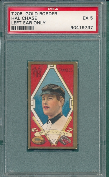 1911 T205 Chase, Left Ear, Piedmont Cigarettes PSA 5 *SP*
