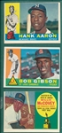 1960 Topps Lot of (3) W/ Gibson, Aaron & McCovey, Rookie