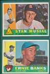 1960 Topps #10 Banks & #250 Musial, Lot of (2)