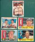 1960 Topps Lot of (5) W/ Ford, Mays & Mantle