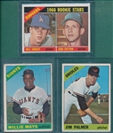 1966 Topps #1 Mays, #126 Palmer, Rookie & #288 Sutton, Rookie, Lot of (3)