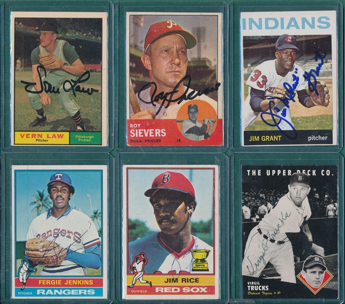1970/72 Topps Lot of (6) Autographed Cards W/ 61T Vern Law