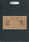 "1922 I. C. S. Score A ""Hit"" Score Card W/ Jennings & Mathewson SGC Authentic"