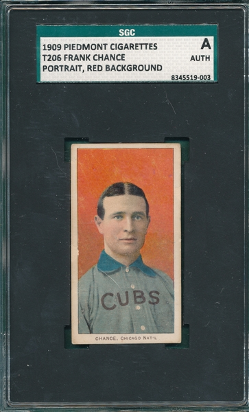 1909-1911 T206 Chance, Red Portrait, Sweet Caporal Cigarettes SGC Authentic