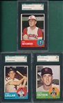 1963 Topps #118, 374 & 422, Lot of (3), SGC 88