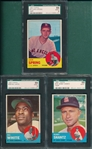 1963 Topps #290, #533 & #572, Lot of (3), SGC 88 *High #*
