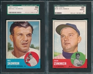 1963 Topps #180 Skowron & #439 Zimmer, Lot of (2), SGC 88 *High #*