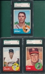 1963 Topps #119, #372 & #538, Lot of (3), SGC 88 *High #*