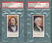 1927 Carreras LTD. #4 Dickens & #19 George Washington, PSA 7.5, Lot of (2)