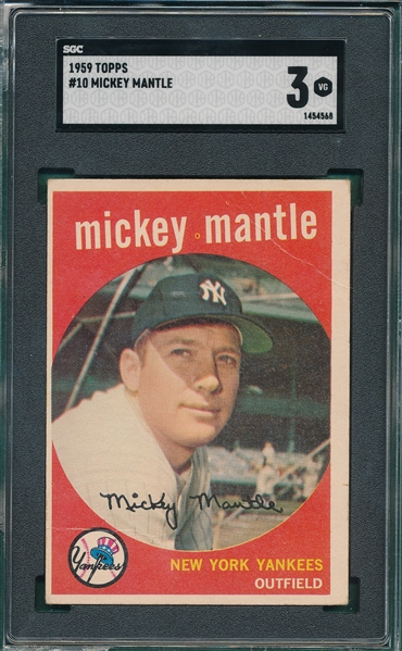 1959 Topps #10 Mickey Mantle SGC 3