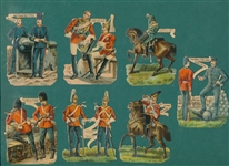 1880s Lot of (7) Military Die Cuts (Small)