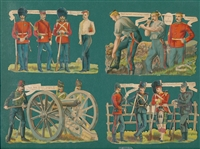 1880s Lot of (4) Military Die Cuts (Large)