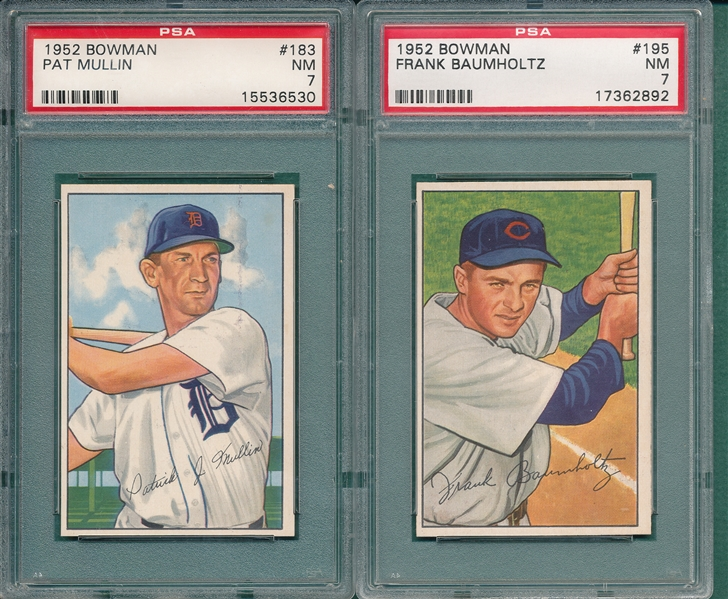 1952 Bowman #183 Mullin & #195 Baumholtz, Lot of (2) PSA 7