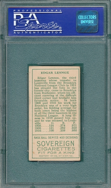 1911 T205 Lennox Sovereign Cigarettes PSA 5