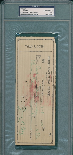 Ty Cobb Signed Cancelled Check PSA/DNA Certified