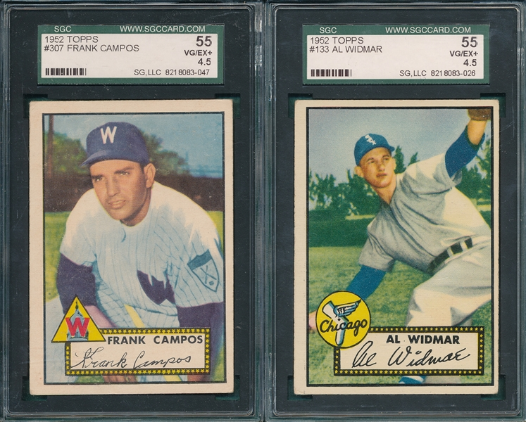 1952 Topps #133 Widmar & #307 Campos, Lot of (2), SGC 55