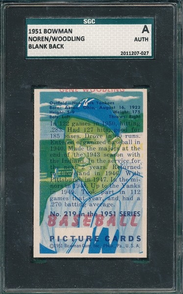 1951 Bowman Noren/Woodling, Blank Back SGC Authentic