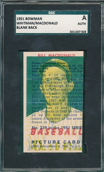 1951 Bowman Whitman/MacDonald, Blank Back SGC Authentic
