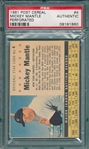 1961 Post Cereal #4 Mickey Mantle, Perforated, PSA Authentic