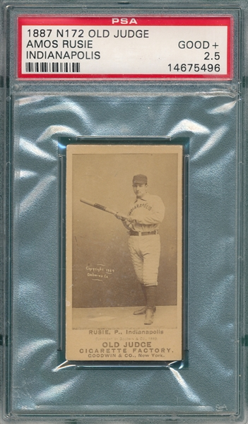 1887 N172 Amos Rusie Old Judge Cigarettes PSA 2.5 *Strong Clear Dark Photo*