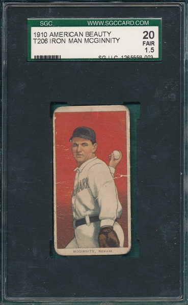 1909-1911 T206 McGinnity American Beauty Cigarettes SGC 20
