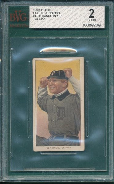 1909-1911 T206 Jennings, Hands in Air, Tolstoi Cigarette BVG 2