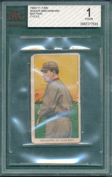 1909-1911 T206 Bresnahan, Batting, Cycle Cigarette BVG 1