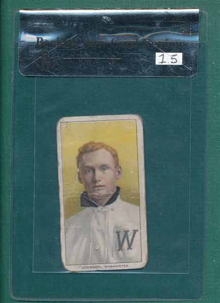 1909-1911 T206 Johnson, Portrait, Sweet Caporal Cigarette Becket Review 1.5 *Factory 25*