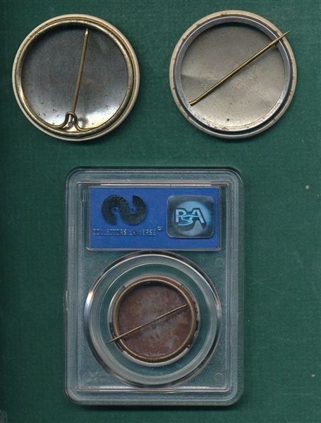1950s Lot of (3) Buttons W/ PM10 Ted Williams PSA