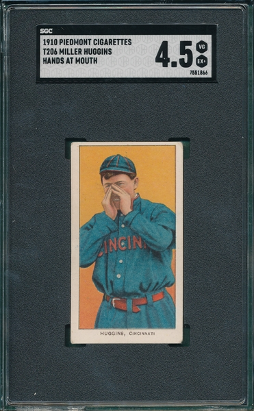 1909-1911 T206 Huggins, Hands At Mouth, Piedmont Cigarettes, SGC 4.5