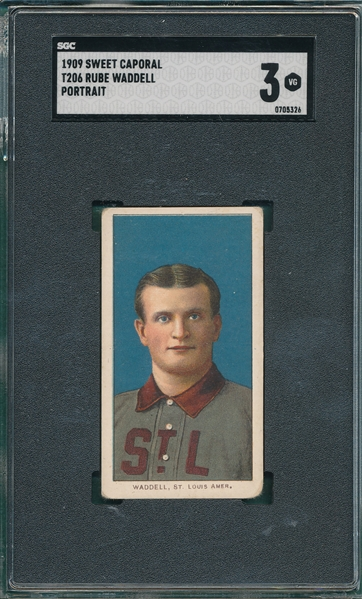 1909-1911 T206 Waddell, Portrait, Sweet Caporal Cigarettes SGC 3