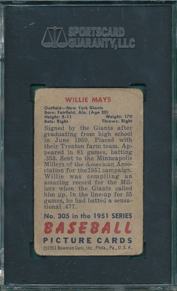 1951 Bowman #305 Willie Mays SGC 10 *Hi #* *Rookie*