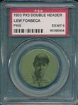 1933 PX3 Double Header Lew Fonseca, Pin, PSA 6
