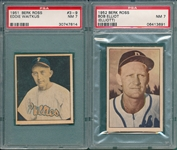 1951 Berk Ross #3-9 Eddie Waitkus & 1952 Elliot, Two Card Lot, PSA 7