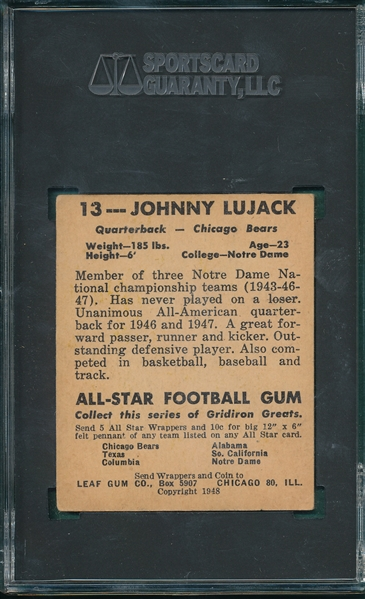 1948 Leaf #13 Johnny Lujack SGC 40 *Rookie*