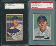 1951 Bowman #45 Houtteman PSA 6 & #111 Evers SGC 84, Lot of (2)
