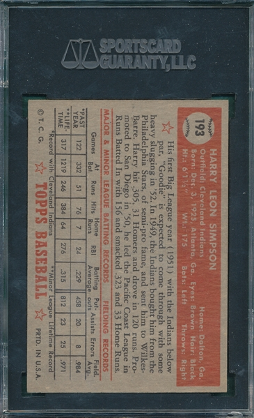 1952 Topps #193 Harry Simpson SGC 70